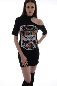 Womens Dresses Cut Out Shoulder T-shirt Dress Ladies Black Mini