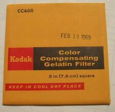 Kodak Color COMPENSADOR GELATINA Filtro N º cc40r 7.6cm OR 7.6cm Cuadrado