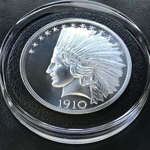 2019 $10 Indian 2 oz 39mm 999 Fine Silver High Relief Medal Rare