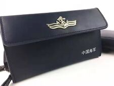 15's series China PLA Navy Badge Officer Genuine Leather Wallet,D
