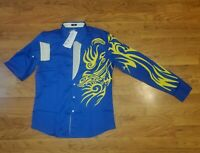 Coofandy Dress Shirt Mens M Fashion Casual Button Down Royal Yellow Tribal NWT