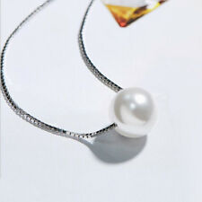 60% Off Round Natural Pearl Gemstone 925 Sterling Silver Charming Chain Necklace