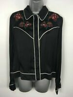 BNWT WOMENS ZARA WOMAN BLACK RED EMBROIDERED FLOWERS SATIN BLOUSE TOP MEDIUM €49