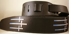 "Black Leather Christian Guitar Strap, 2 1/2"" Wide, Trinity, Triple Cross  New!"