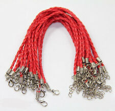 12 Color Braid Leather Bracelet Anklet Rope Lobster Clasp Cord Band Jewelry 24cm