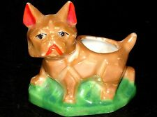 Rare 1930's Vintage Dog Lusterware French Bulldog Pin Cushion Figurines Ashtray
