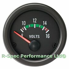52mm Black Face / Clear Lens Volt Voltage 12v Gauge Kit - Automotive 12 Volts