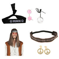 Peace Hippie Fancy Dress Hippy Costume Headband Sunglasses Earrings Necklace
