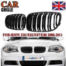 2x Glossy Black Dual Line Kidney Grilles For BMW E81 E82 E87 E88 118i 128i 07-13