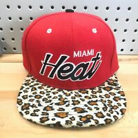 Miami Heat NBA Basketball Mitchell & Ness Strap Back Leopard Bill EUC Hat RARE!