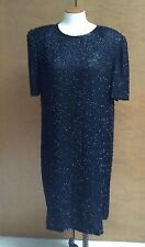 Womens Laurence Kazar Sequin Dress 1X Silk  Black Shoulder Pads NWT