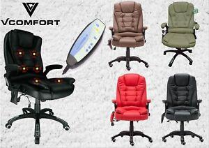 VComfort office gaming massage Swivel recline ergonomic leather highback chair