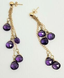 Stunning 6mm Fine Purple Amethyst Dangle Chandelier Drop Earrings 2 Inches 3.6g