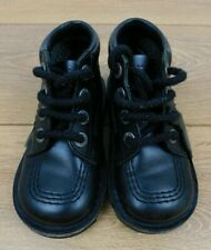Boys Black Leather Kickers School Shoes EUR 25 UK Size 8
