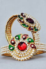 Designer Gold Plated Stone Kundan Women Bracelet/ Kada / Bangle Free Size- 1PC