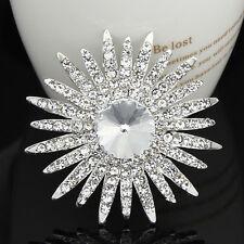 Big Large flower wedding bridal bouquet crystal rhinestone women brooch pin gift