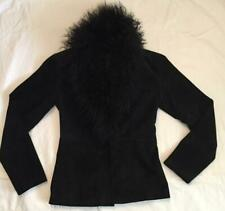 Genuine Mongolian Lamb Fur & Suede Leather Charlotte Russe Jacket Coat Black M