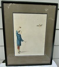 FINE ANTIQUE CHINESE WATERCOLOR PAINTING 19TH CENTURY BOY TRAINING BIRD