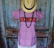Unusual Lavender Triqui Huipil Traditional Hand Woven, Oaxaca Mexico Hippie Boho
