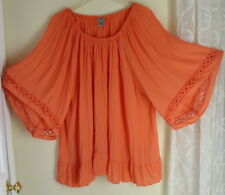 Catherines 3X Romantic Gypsy Orange Lagenlook Flow Boho Pleated Tunic Top Shirt