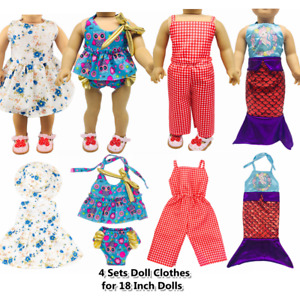"""Doll Clothes Accessories 4 Sets Doll Dress Hats for 18"""" Dolls Doll Outfits 70"""
