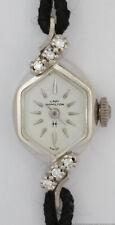 Cool Oddly Shaped Vintage 14k White Gold Diamond Lady Hamilton 768 17J Watch