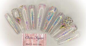 Luxury Holographic Crystal Press On Nails/ Coffin/ Stilettos/ Ballerina
