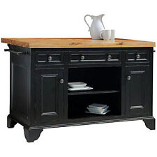 "Sutton 54"" Kitchen Island, Distressed Black Finish, Solid Wood Construction"