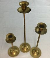 "3 Vintage Large Pillar Solid Brass Candle Holders 16""12""8"" Home Decor Wedding #6"