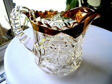 New Martinsville Glass Star of David #500 Wetzel Gold Leaf Creamer c 1905