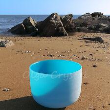 "8"" G Throat Blue Quartz Crystal Singing Bowl Meditation Heal Stone"