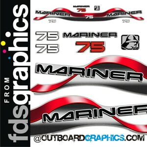 Mariner 75hp 2 stroke outboard decals/sticker kit