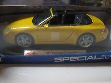 1:18 SCALE MAISTO PORSCHE 911 CARRERA S CABRIOLET CONV. DIECAST YELLOW