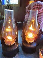PRIMITIVE TIN OIL LAMPS FINGER HANDLE EAGLE BURNER P&A MFG CO WALL SCONCE BLACK