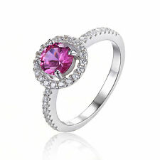 1.2ct Pink Sapphire Round Solitaire Ring  925 Sterling Silver Size 8 Women Hot