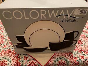 Noritake Colorwave Coupe 16-Piece Dinnerware Set in Graphite