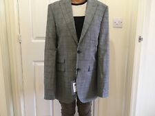 WOOL WITH CASHMERE BY JOHN LEWIS MEN SUIT JACKET MILLED CHK SB2 PEAK SIZE 38L