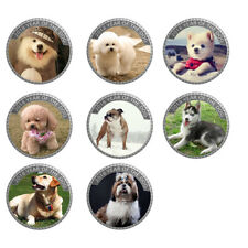 8pcs 2018 Year of The Dog Souvenir Coin 999.9 Silver Puppy Coin New Year Gifts