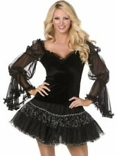 Halloween Cosplay Fancy Dress Costume Bijou Black Blouse Long Puff Sleeves Sz S