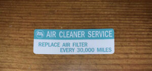 1979-83 Toyota Pickup Truck Hilux Air Filter cleaner service Decal L Diesel