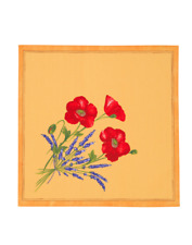 French Provencal 100% Cotton Set of 6 Napkins Poppies Yellow - France