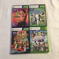 4 Lot Kinect Sports: Season 2 Nicktoons MLB Zumba Adventures Xbox 360 Games