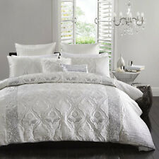 LOPEZ SILVER Queen Size Bed Doona Quilt Cover Set Ultima Logan and Mason
