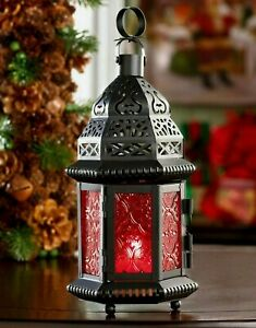RED GLASS MOROCCAN LANTERN ** Holiday - LED or Candle  ** NIB