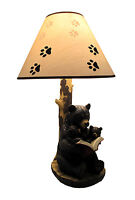 Zeckos Black Bear Reading to Curious Cubs Table Lamp w/Paw Print Shade