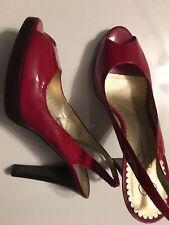 Jessica Simpson Dark Red Patent Leather Peep Toe Slingback Women's Heels Shoes