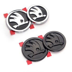 Logo Front 90mm Hood Bonnet +Rear 80mm Boot  Trunk Emblem Badges Fit Skoda New