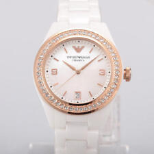 NEW EMPORIO ARMANI AR1472 LADIES WHITE CERAMIC CRYSTAL WATCH - 2 YEAR WARRANTY