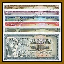 Yugoslavia 10 20 50 100 500 1000 Dinara Set, 1968-1981 P-82/88/89/90/91/92 Unc
