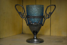 Antique Silver Plate Cup Blue Satin Glass Insert Fillagre Dual Handles